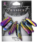Cousin® Jewelry Basics 7 Pack Coated Stone Pencil Beads-Rainbow