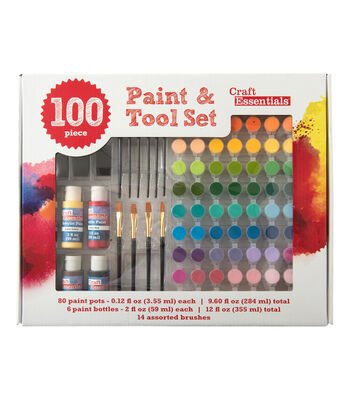 Craft Essentials 100-Piece Acrylic Paint & Tool Set