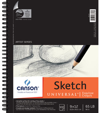 "Canson Universal Spiral Sketch Book 9""X12""-100 Sheets"
