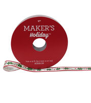 Maker's Holiday Christmas Ribbon 3/8''x9'-Holly on White, , hi-res