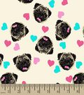 Pugs and Hearts Print Fabric