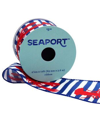 Seaport Ribbon 2.5''x12'-Lobster on Stripes