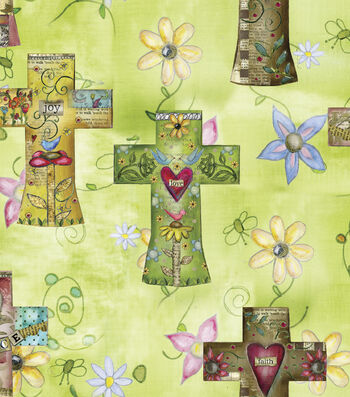 Easter Cotton Fabric 43''-Green with Crosses