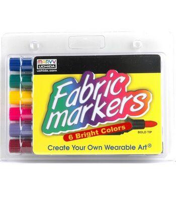 Marvy Uchida Fabric Marker Broad Tip 6/pkg Bright