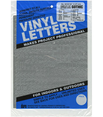 Duro 852pcs 0.5'' Permanent Adhesive Vinyl Letters & Numbers