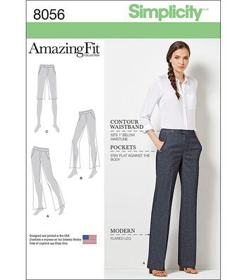 Simplicity Amazing Fit Miss/Plus Size Flared Pants Or Shorts-20W-28W