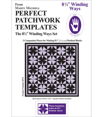 """Perfect Patchwork Template-Winding Ways 8.5"""" 3/Pkg"""