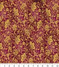 Asian Inspired Cotton Fabric 43\u0022-Floral Vines Dark Pink Metallic