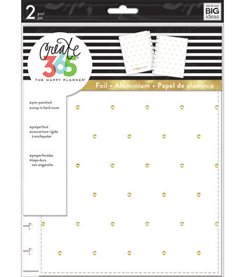 Create 365 Classic Snap-In Hard Cover Planner-White With Gold Dots