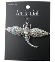 hildie & jo™ Antiquist Dragonfly Silver Pin-Iridescent Crystals, , hi-res