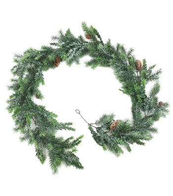 Blooming Holiday Christmas 72'' Tsuga Hemlock Glisten Garland-Green