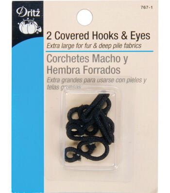 Dritz Covered Hooks & Eyes 2pcs Black