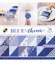DCWV Pack of 36 12''x12'' Premium Printed Cardstock Stack-Blue China, , hi-res