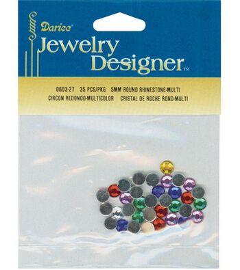 Darice Jewelry Designer 5mm Round Rhinestones-35PK