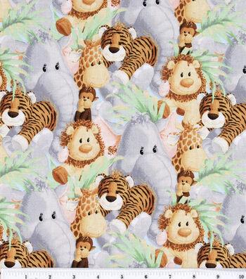 "Nursery Cotton Fabric 44""-Jungle Baby Animals"