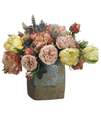 Bloom Room Luxe 13'' Peony, Rose & Tulip Terra Cotta Pot-Pink