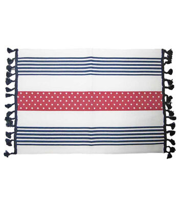 Americana Patriotic 14''x20'' Indoor Placemat-White with Stars & Stripes