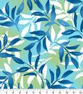 Anti-Pill Fleece Fabric 58\u0022-Blue Green Leaf Overlay