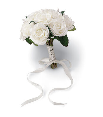 """Wedding Bouquet 8.5"""" Diameter-French Rose Natural Color"""