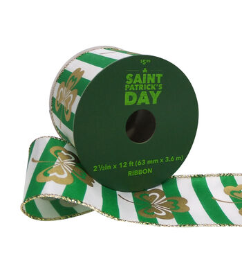 St. Patrick's Day Ribbon 2.5''x12'-Gold Shamrock on Green & White Stripe
