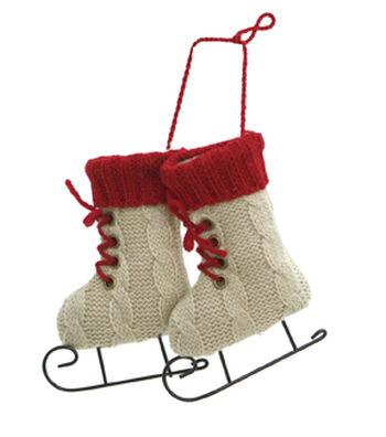 Maker's Holiday Christmas Handmade Holiday Knit Skates Ornament-Ivory