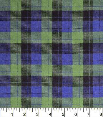 """3 Yard Pre-Cut Snuggle Flannel Fabric 42""""-Skylar Blue Green Plaid"""