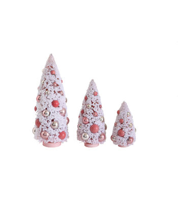 3R Studios Christmas 3 pk Bottle Brush Trees with Ornaments-Pink