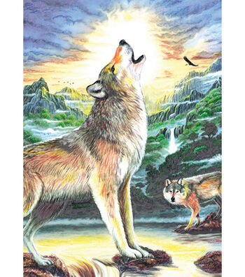 """Royal Brush 5""""x7"""" Colour Pencil By Number Kit-Wolf At Night"""