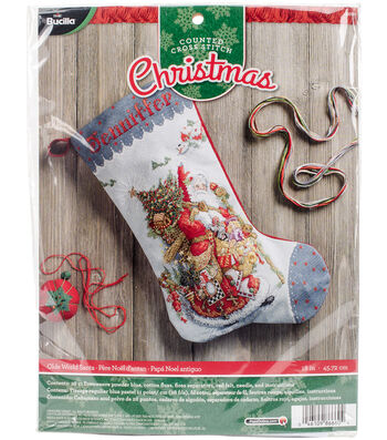 """Old World Santa Stocking Counted Cross Stitch Kit-18"""" Long 28 Count"""