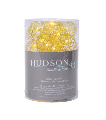 Hudson 43 LED 20 ct Metal Sphere String Lights-Warm White with Gold Wire