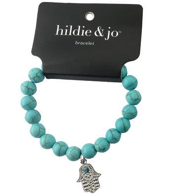 hildie & jo Beads Stretch Bracelet-Turquoise with Silver Hamsa