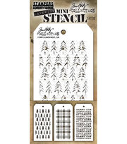 Tim Holtz Mini Layered Stencil Set 3/Pkg-Set #32, , hi-res