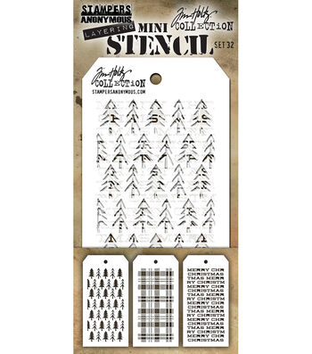 Stampers Anonymous Tim Holtz 3''x6.25'' Layering Stencil Set-Set #32