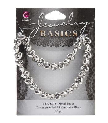 Jewelry Basics Metal Puffed Heart Beads 9mm 36/Pkg-Silver