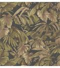 Delfino Black Leaves Wallpaper Sample