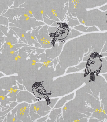 Keepsake Calico™ Cotton Fabric 43''-Black Birds on Branches