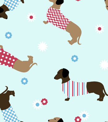 "Snuggle Flannel Fabric 42""-Dachshunds In Sweaters"