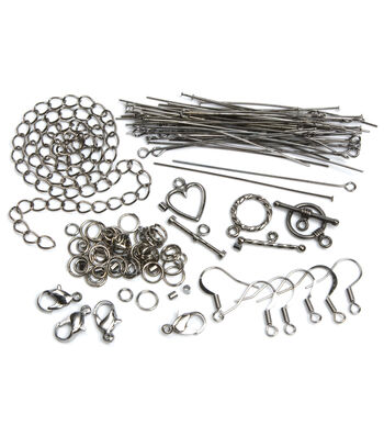 Jewelry Basics Starter Pack 145/Pk-Gunmetal