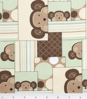 "Nursery Cotton Fabric 43""-Monkey Patch, , hi-res"