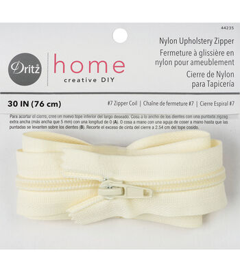 "Dritz Home Nylon Home Decor Zipper Cream 30"""