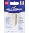 Gold Embroidery Hand Needles- Size 1/5 4/Pkg