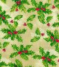 Christmas Cotton Fabric 43\u0022-Holly Berries