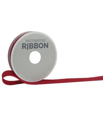 "Decorative Ribbon 5/8"" Burlap Ribbon-Red"