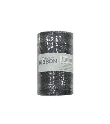 "Decorative Ribbon 5.5""x10yd Metallic Deco Mesh-Black"