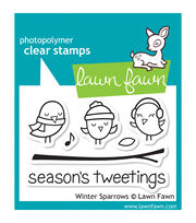 "Lawn Fawn Clear Stamps 3""X2""-Winter Sparrows, , hi-res"