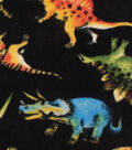 Anti-Pill Fleece Fabric 61\u0022-Dinosaurs On Black