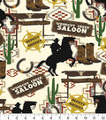 Snuggle Flannel Fabric 42\u0027\u0027-Woodcut Creek Saloon