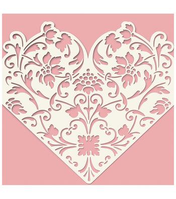 Anna Griffin Pink Laser Cut Heart Sleeve Custom Invitation