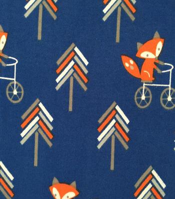 "Doodles Cotton Fabric 57""-Fox on Bike"