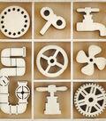 Kaisercraft Factory 42 40 pk Mini Themed Wooden Flourishes-Mechanisms